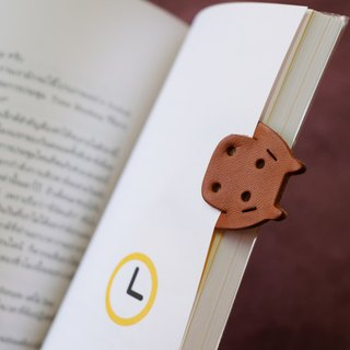 Leather Bookmark / Cute Animal Bookmark / Gift for Book Lovers -Hippopotamus Tan