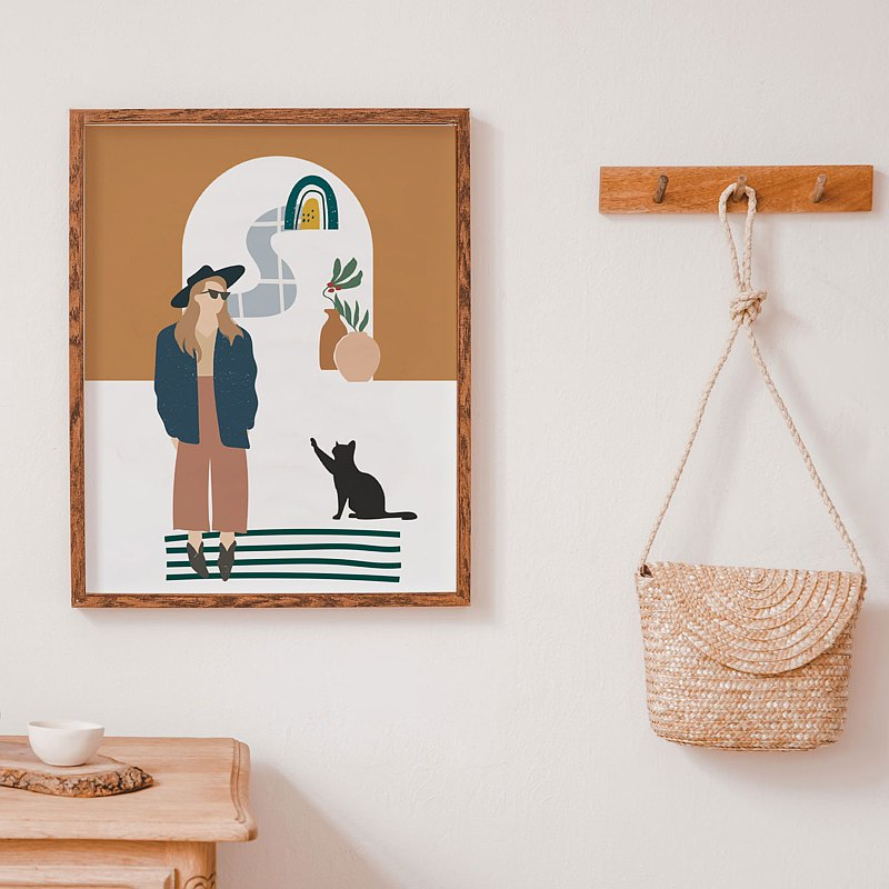 "Bohemian style decor with women and cat picture, Buy 1 get 1 sizes 8x10""& 12x18"""