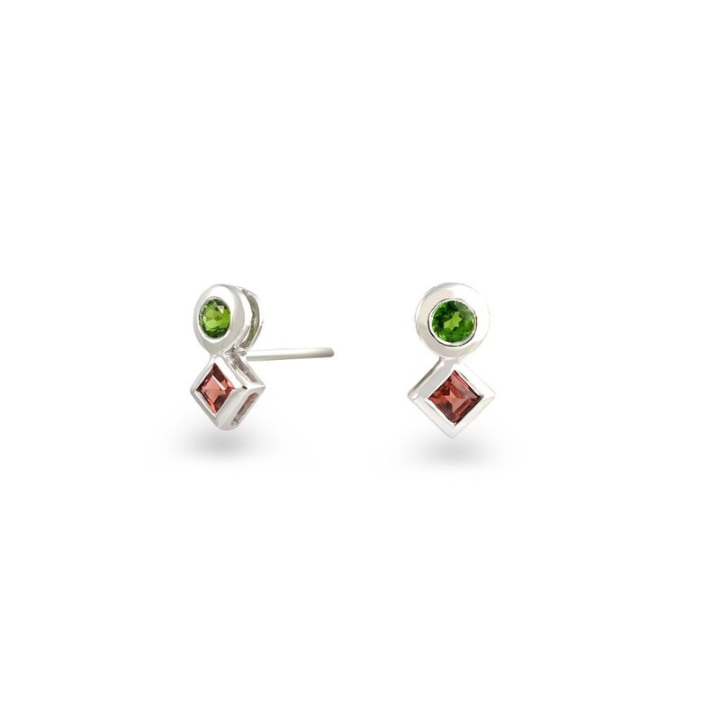 Urban Square and Round Earring with Chrome Diopside and Red garnet