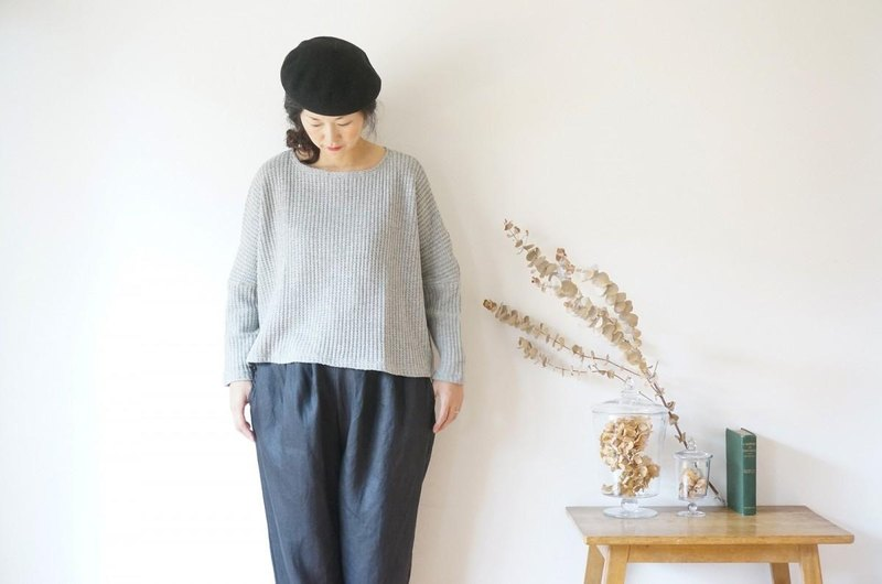 Waffle Drop Shoulder Wide Knit LADY'S GRAY