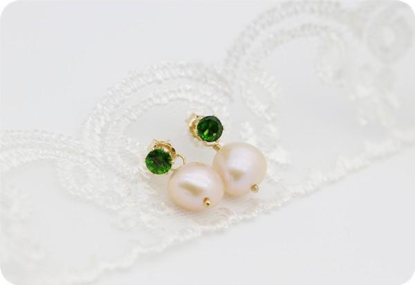 Diopside and Poppy Pearl Back Catch Earrings June Birthstone