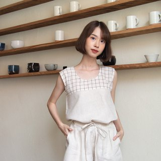 NIKARA SET (Linen tank top and Linen shorts) - Beige/Brown plaid