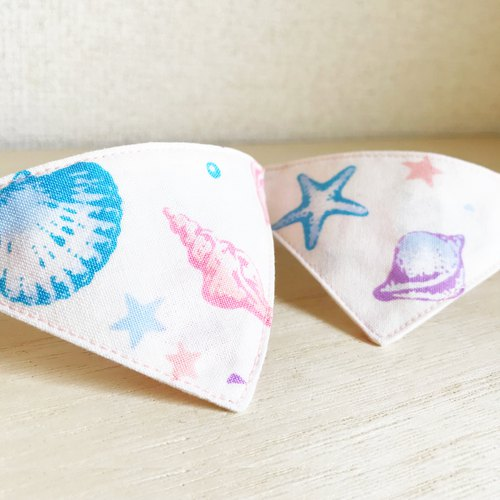 Seashells for cats Bandana style collar for cats Safety buckle safety collar