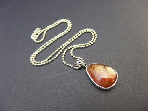 太阳石纯银吊坠 Sunstone Silver Necklace