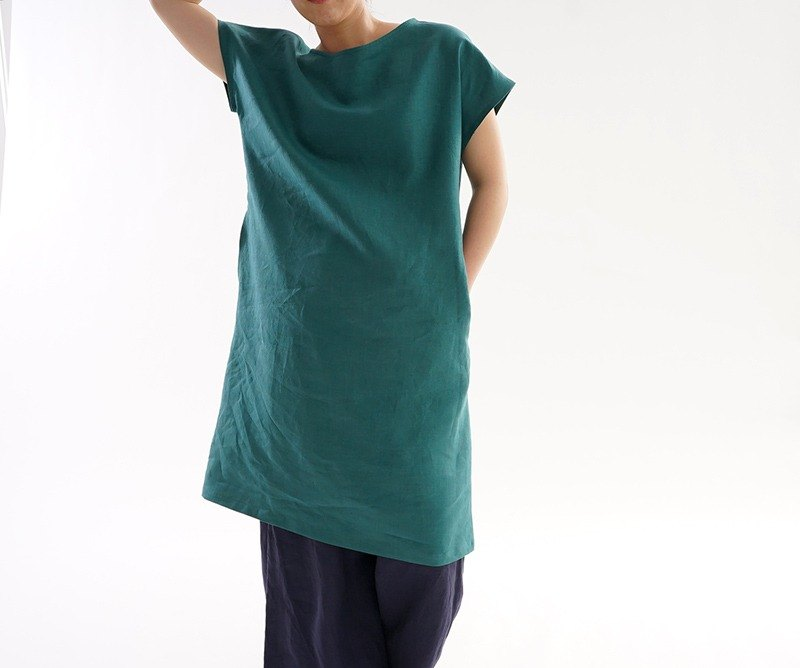 linen / linen dress / short sleeve / midi dress / green / a41-37
