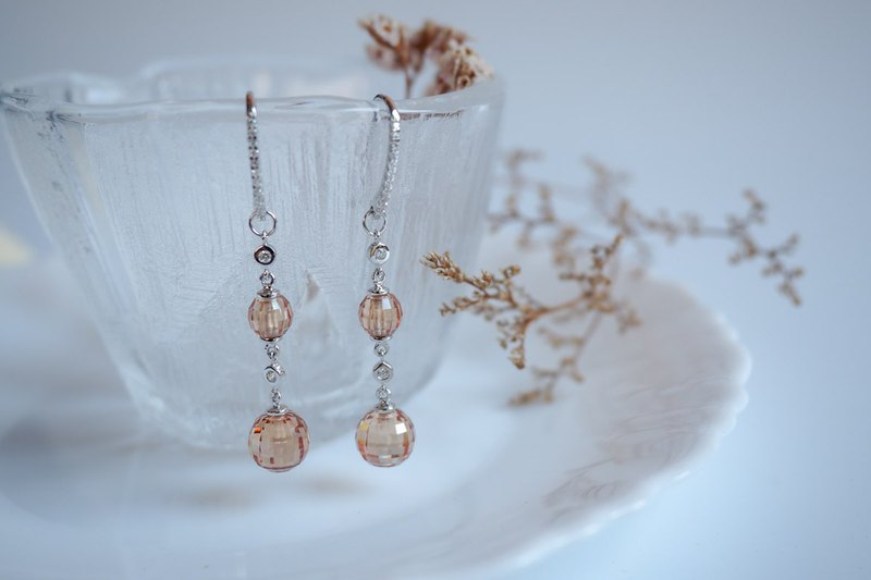 Statement dangle earrings with faceted crystal balls