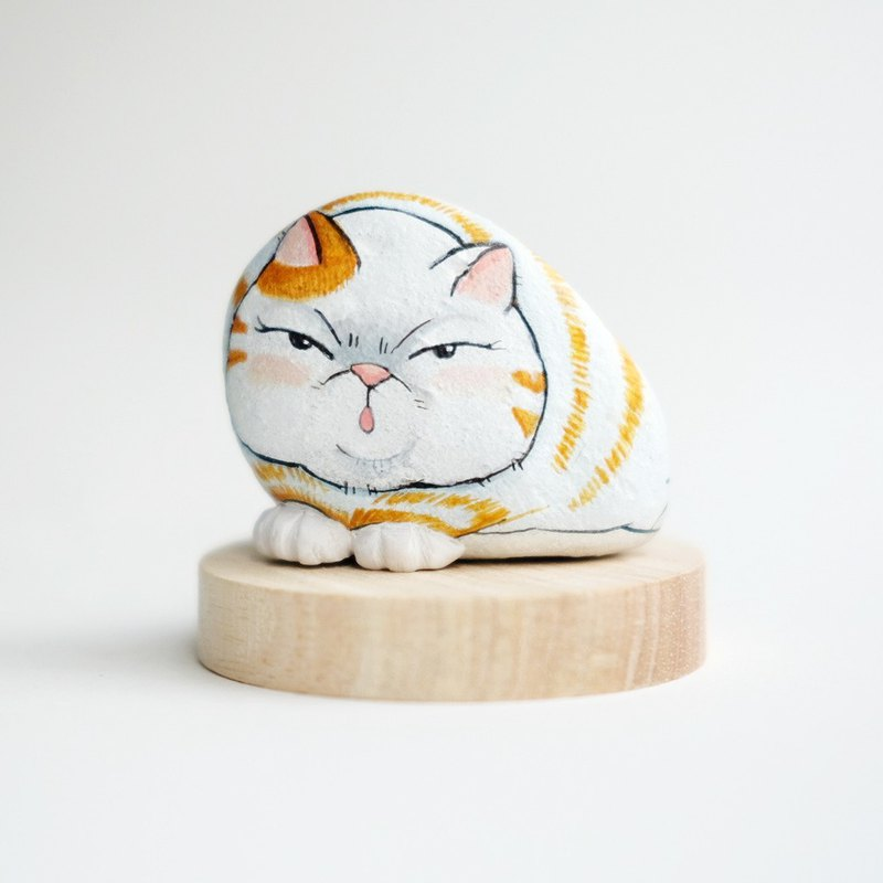Cat stone painting.