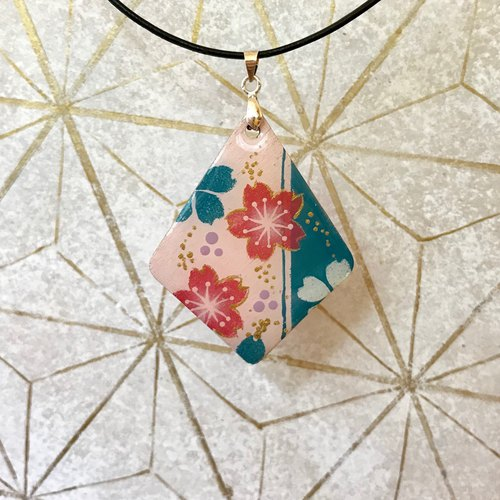 Pink and Green Cherry Blossoms Pendant, Japanese style