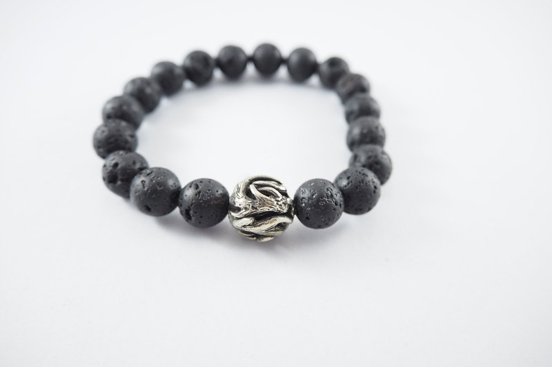 Horn bead 10 mm.Lava stone bracelet in white bronze ,men jewelry