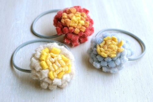 Flower hair rubber felt wool handmade hair accessories From adults to children