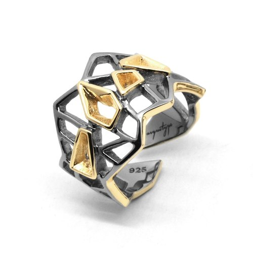 WIREFRAME Ring / Black - 18K Yellow Gold  (2-tones)