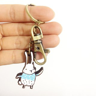 Wooden Keyring White Bunny Wearing