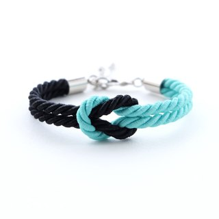 Black / Matte fresh mint knot rope bracelet