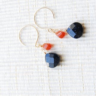 Carnelian and blue sandstone earrings 14 kgf