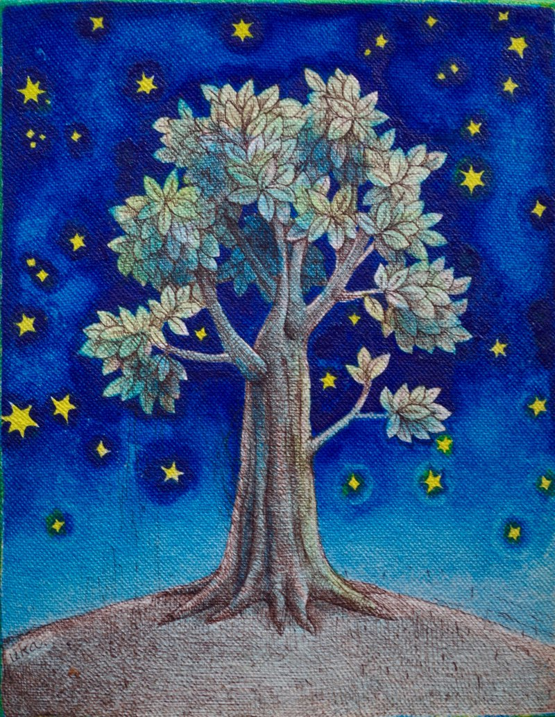 tree and stars /original painting/watercolor