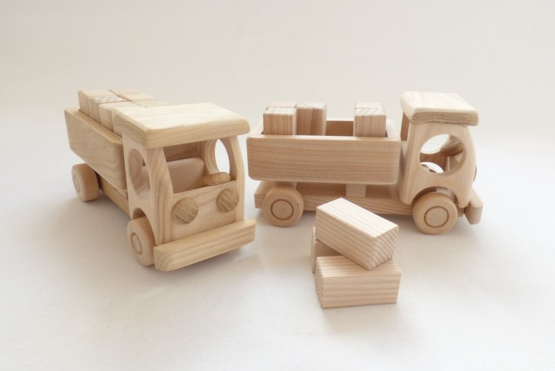 New Handcrafted Handmade Natural Ecological Organic One Wooden Track With Blocks - Toys For Girls & Boys - Size Approx 8 in or 20 cm