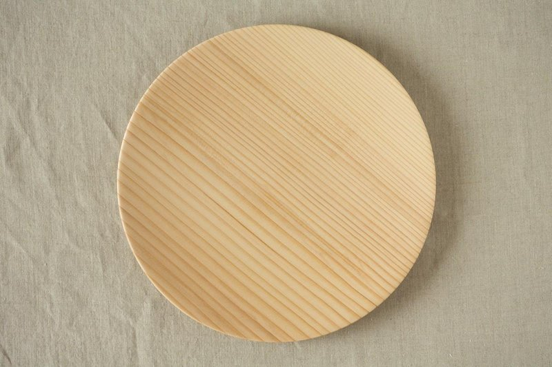 Wood 24cm of the potter's wheel grind of wooden plate fir (fir) 06