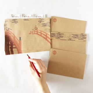 Fox and red drum bridge Letter set Mike Inari shrine Japan Wako cloud animal seal envelope stationery foxes married