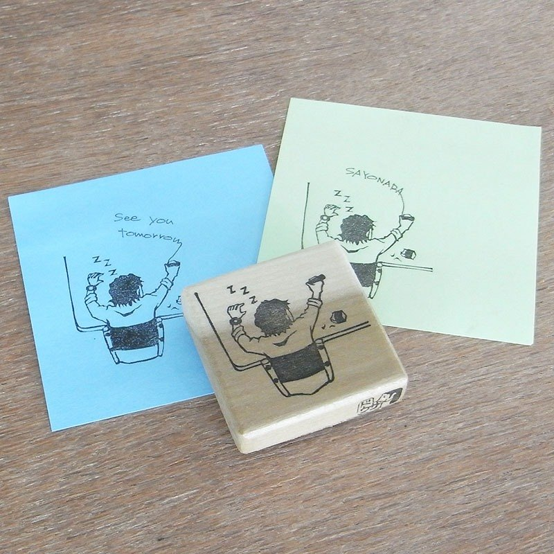 Handmade rubber stamp Sleeping office worker