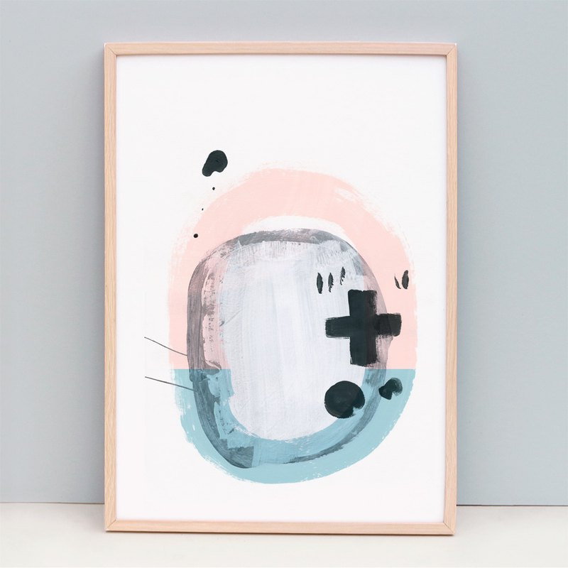 Fine Art Print Abstract Art, Blue and Light Pink  - Sound (Unframed)