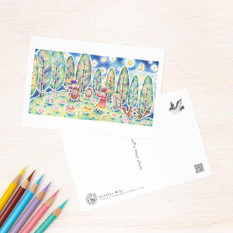 "Set of 5 sheets. Like a picture book. Postcard ""Night Forest Concert"" PC-252"