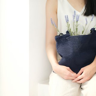 Crochet Polka Dot Tote Bag | Navy