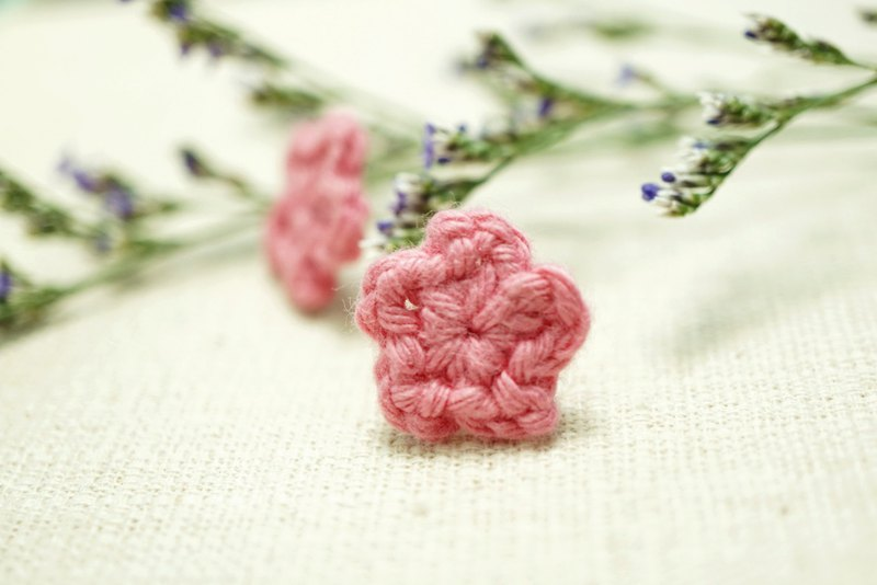 Fluffy Floral Earrings - Sweety Pink