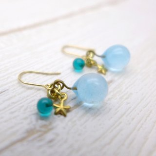 Glow in the dark, Aqua drop of glass pierces, Sky blue