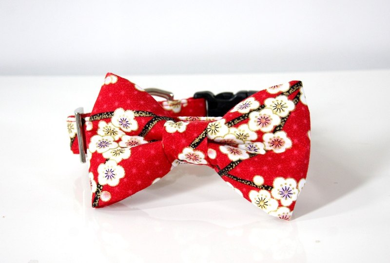 Umen hemp leaf Japanese pattern medium collar collar with bow tie M size - red