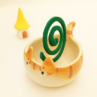 Mosquito coil holder of cat shape with glaze # 1 ceramic item