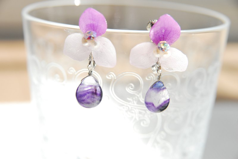 Hydrangea and Florite earrings no. 2