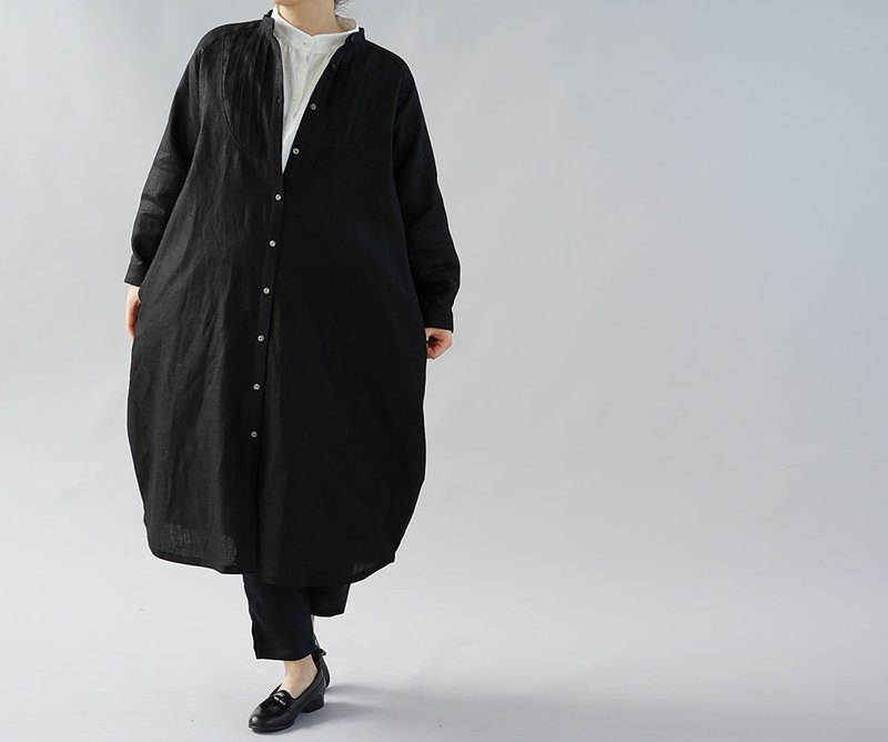 wafu - 純亞麻洋裝 Midweight Linen Cocoon Dress / Black a081k-bck2