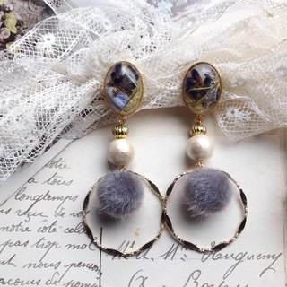 14 kgf Dry Flower x Fake Fur Ball Ring Big Older Piercing OR Pain-resistant Brass Ear Clip Ear Needle / Ear Incl