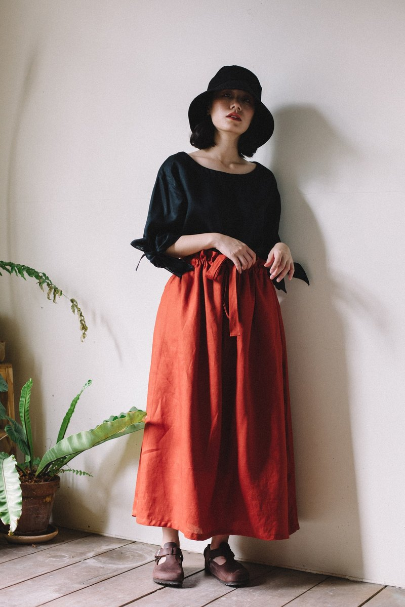 Linen Tie Waist Skirt in Brick