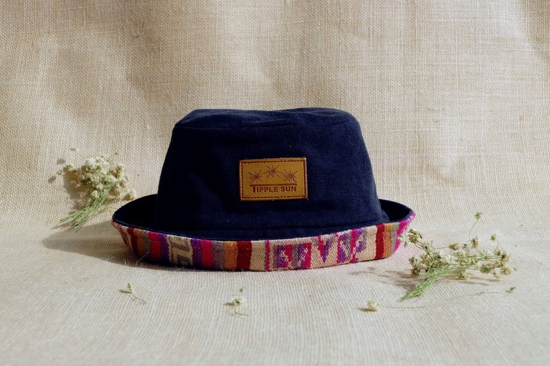 Tipple Sun Bucket hat (Black /Traditional fabric from Laos)