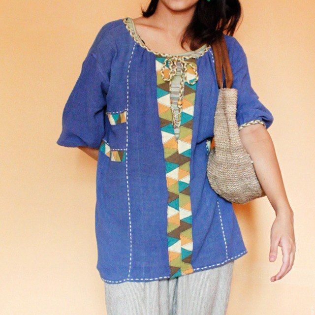 Lily Patchwork five-minute sleeve pullover