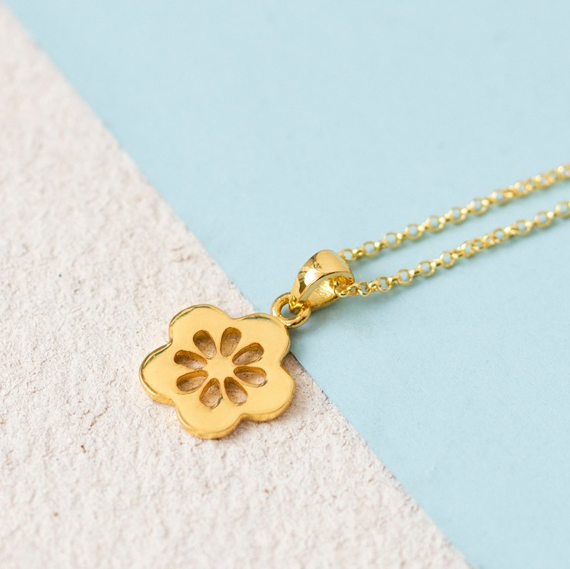 Sakura Necklace in Brass with 14k Gold Plating