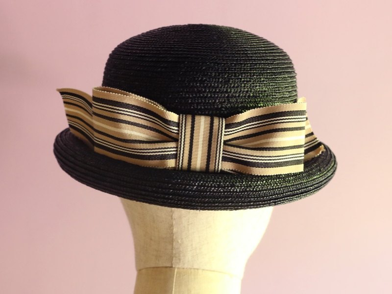 Black Straw Bowler Hat with Striped Ribbon