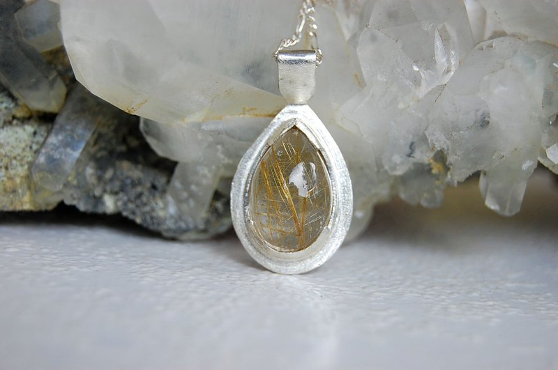 rutilated quartz silver pendant, rutilated quartz silver jewelry, quartz jewelry