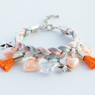 Peach/light mint/light gray braided bracelet with orange charms