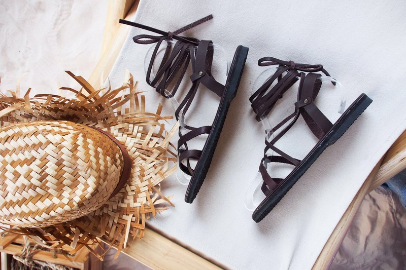Genuine leather gladiator shoe dark brown cross shoes boho bohemian Sandal beach