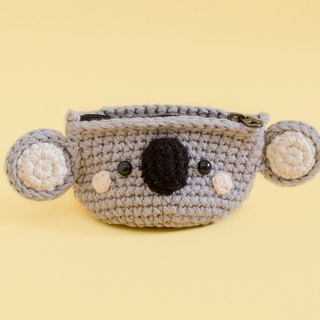 Coin purse - Crochet the Koala (Grey) | Crochet Coin Case.