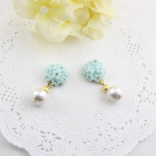 Floret swarovski and pearl earrings