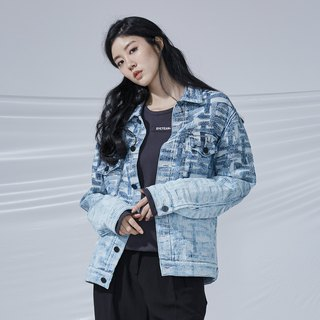 DYCTEAM - Cross Pattern Jacquard Jacket丹宁缇花水洗渐层外套