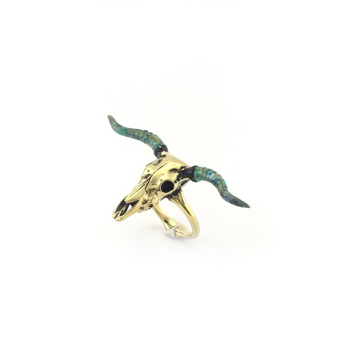 Zodiac Bull skull ring is for Taurus in Brass and Patina color ,Rocker jewelry ,Skull jewelry,Biker jewelry