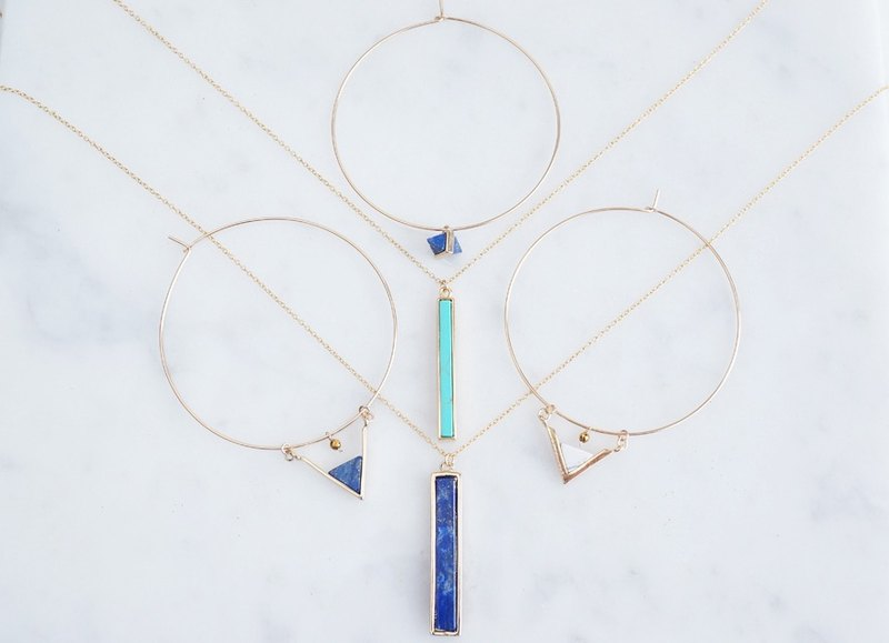 [14KGF] Hoop Earrings, Gem Lapis Lazuli, Triangle