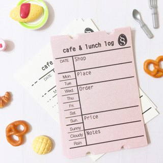 Cafe and lunch log sheet / Design like a ticket