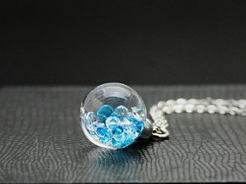 Bijou glass Ball Pendant L Ultramarine blue color