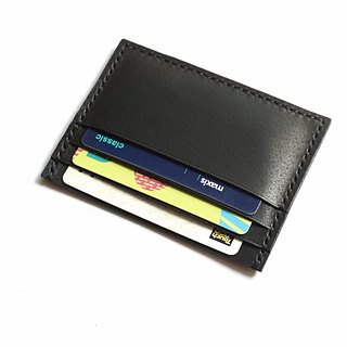 Credit Card Wallet/ Card Organiser in Black Leather (Straight Cut)