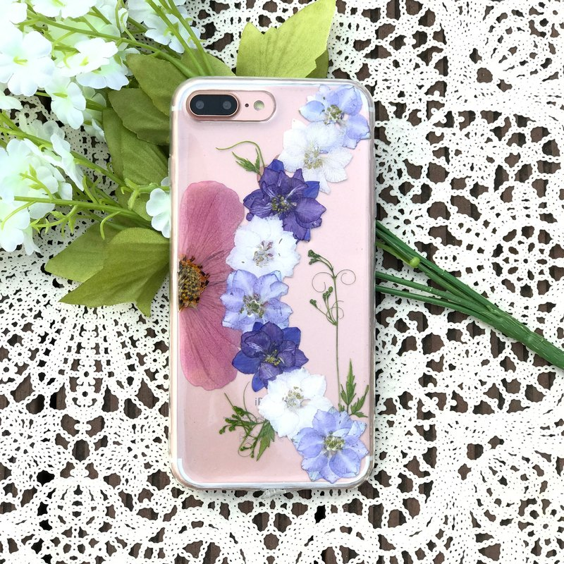 iPhone 7 手机壳 Dry Pressed Flowers Case 押花 干燥花 叶子 紫色压花 025